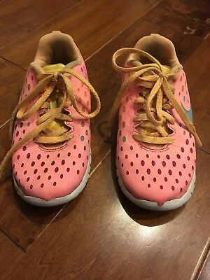 NIKE Girls Size 11c Running Athletic Sneakers Tennis Shoes | Pink Rainbow Orange