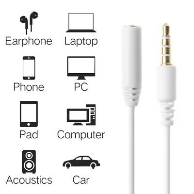 4-Pole 3.5mm Jack Male To Female Stereo Audio Aux Headphone Extension Cable