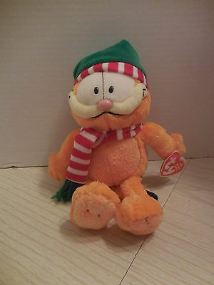TY Seasons Greetings GARFIELD the CAT NWT Cap and Striped Scarf Plush New