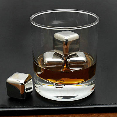 8pcs Reusable Stainless Steel Whiskey Stones Ice Cubes Rocks Beverage Freezer
