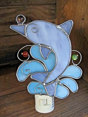 Dolfin Stained Glass Night Light Ocean Beach or Nautical Lovers Collectible