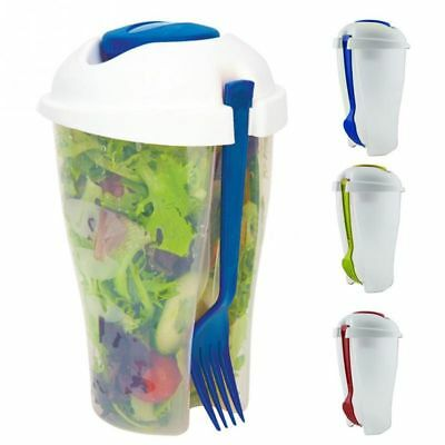 Bowl With Fork On The Go Shaker Dressing Salad Container Serving Cup Fruit