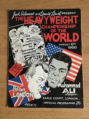Vintage Programme Brian London Muhammad Ali World Heavyweight August 6 1966 Off