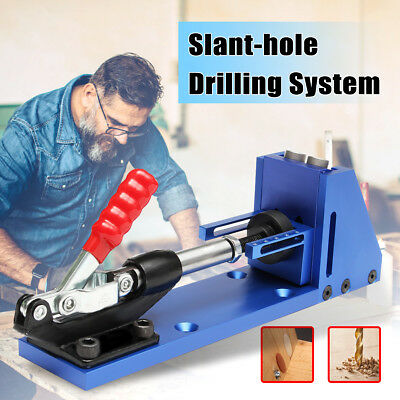 Pocket Hole Drill Jig Woodworking Kit Portable Hole Joinery System + 11'' Pliers