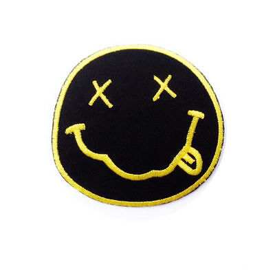 NIRVANA FACE LOGO IRON ON / SEW ON PATCH Embroidered Badge PT103 MUSIC