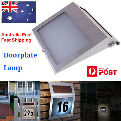 Solar Power Stainless Steel LED Doorplate Lamp House Address Number Wall Light