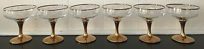Vintage Lovely Set of Six Classic Champagne Glasses Gold Trim and base