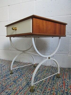 Vintage Retro STAPLES & Co Teak Hollywood Style Bedside Cabinet Table