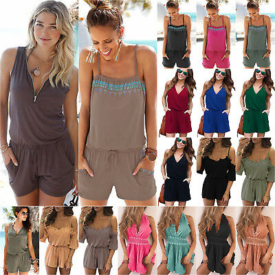 Womens Holiday Strap Jumpsuit Ladies Summer Beach Shorts Playsuit Romper Dress