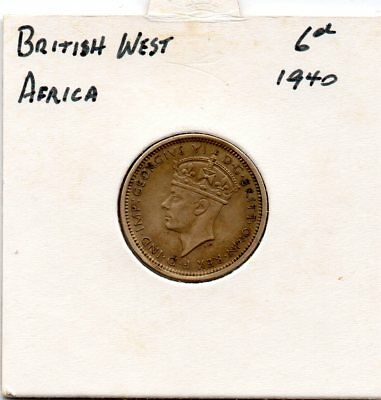 British West Africa 1940 6d VF coin