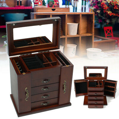2018 Wooden Large Jewellery Box Gift Necklace Case 5 Layers Mirror Lock ROWLING