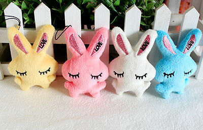 2Pcs Kids Baby Plush Toy Cartoon Rabbit Lovely Squinting Bowkot Stuffed Toys PB