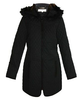 Country Casuals CC winter diamond quilted coat fur hood RRP £119.00