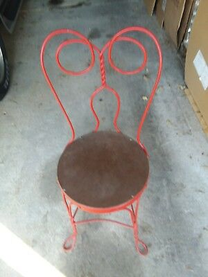 Antique Parlor Chair Vintage Bistro Wrought Iron Twisted Steel  1930's to 40's