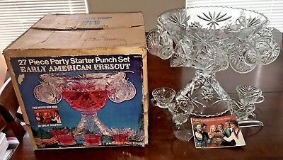 VTG Anchor Hocking Early American Prescut 27 Piece Punch Bowl Set w/Box & Recipe