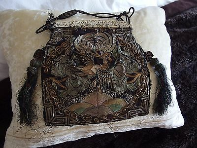 antique Chinese rank badge hand embroidered metallic threads purse bag RARE
