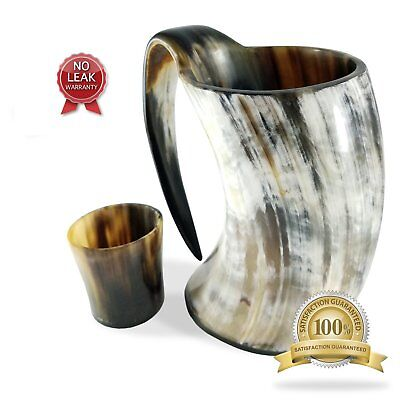 SilentWalk 20 oz Viking Drinking Horn Ale Tankard With Free Horn Shot Glass