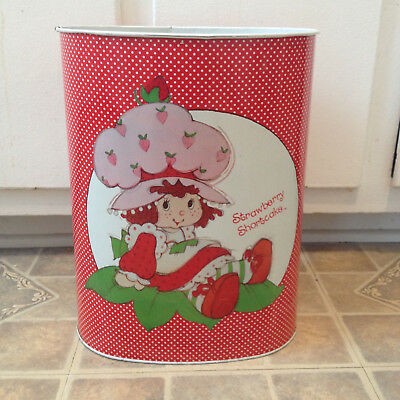 Vintage Strawberry Shortcake Trash Can Waste Basket Bin