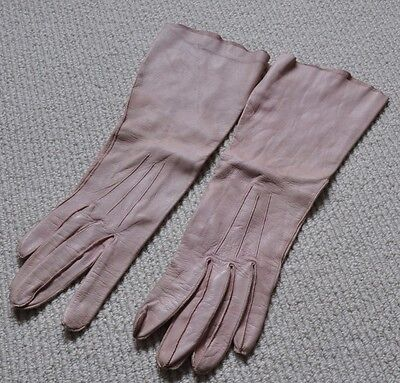 Vintage Retro Long Pale Pink Leather Kid Gloves, Size 7.5, By Perrin,