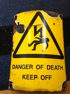 Vintage Telegraph Pole Danger Of Death Enamel English Sign Rare