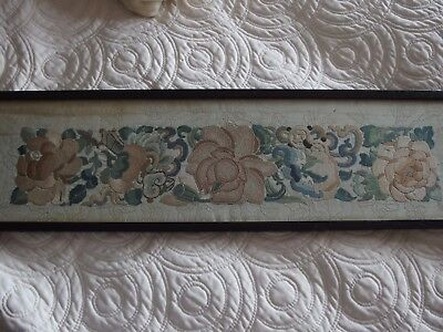 Antique Chinese silk hand embroidery signed and framed