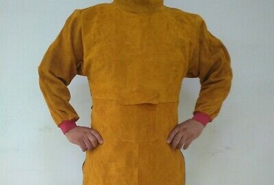 Durable High-necked Cowhide Welding Long Apron Protective Cow Leather Clothing
