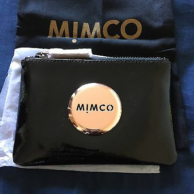 BNWT MIMCO Small Black Patent Leather Rose Gold Badge Pouch RRP 69