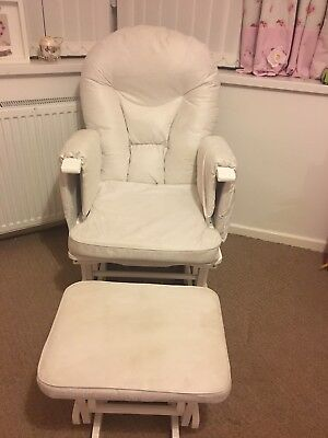 Deluxe White Reclining Glider Chair and motion footstool with cream cushions exc