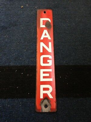 Vintage Old Industrial Metal Enamel Red Danger Sign Telegraph Pole 1950's