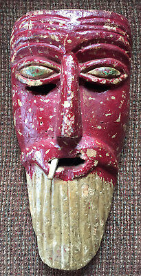 "VERY old Tarascan Mexican mask, apprx. 13"", devil?"