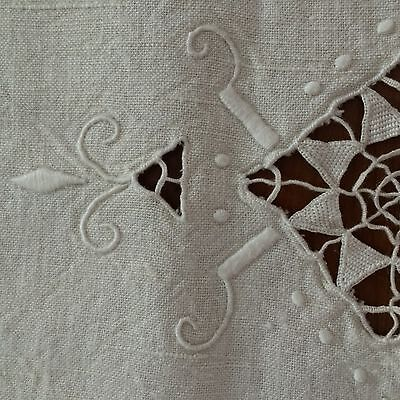 ANTIQUE? layover sham ivory linen Italian Reticella  Point de Venise needle lace