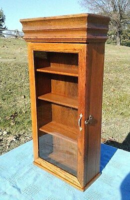 Antique Oak Small Wall Cabinet One Glass Door with 4 Shelves 1920's Era