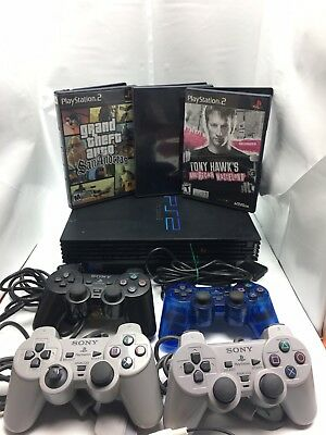 Original Sony PS2 Black Playstation 2 Console Fat Bundle w/ Games & Controllers