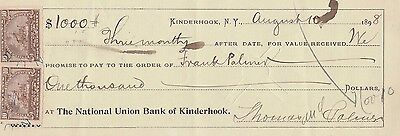 Antique Promissory Note  2 Revenue Stamps 1898 Kinderhook, New York