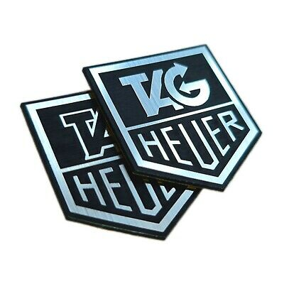 TWO (2) x Tag Heuer Metallic - Aluminium Logo Sticker Badge