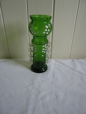 Antique Green Glass with Lilly of the Valley Vase, excellent condition