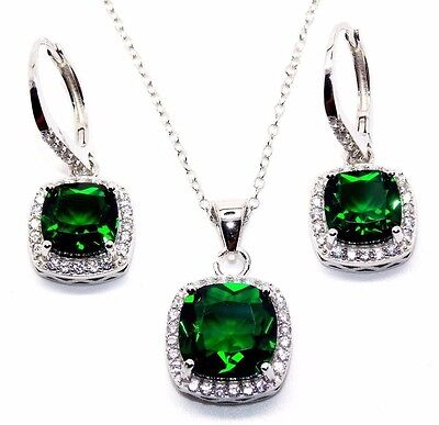 Sterling Silver Emerald And Diamond 8.46ct Cluster Necklace Set (925) Free Box