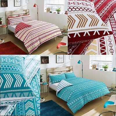 Stylish Red Teal Duvet Quilt Cover Bedding Set Pillowcase Single Double King