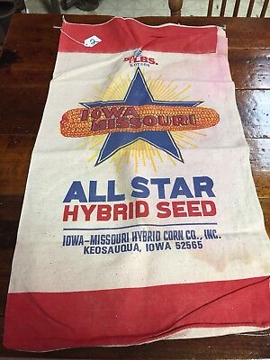 VTG IOWA MISSOURI HYBRID CORN CO., INC. FEED SEED SACK~Farmhouse decor