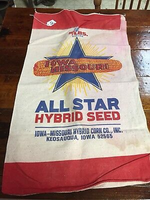 VTG IOWA MISSOURI HYBRID CORN CO., INC. FEED SEED SACK~Farmhouse