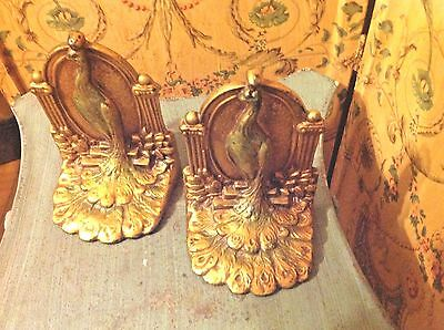 Antique Peacock Bird Statue Bookends Pair Solid Heavy Gilt Cast Iron 6'