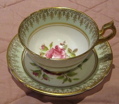Stanley Bone China Cup and Saucer - Mint Green, Gold & Red Cabbage Rose