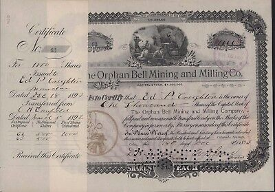 THE ORPHAN BELL MINING & MILLING CO 1893 Cripple Creek, Colorado 1000 Shares