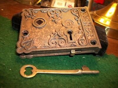 Antique C20 Victorian Eastlake Decorative Cast Iron Rim Lock W/ Key & AUX, BOLT
