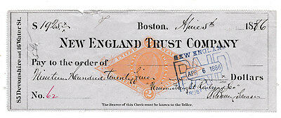 1886 New England Trust Company, Boston, Mass    W/revenue