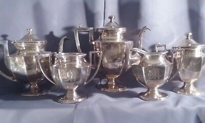"""antique silver plate tea and coffee set 5 pieces monogrammed """"M"""" Van Bergh Co"""