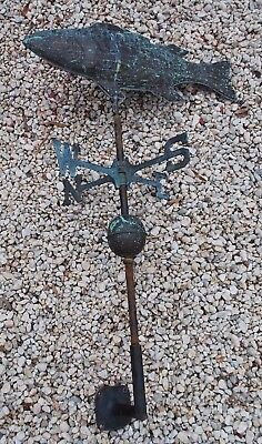 Beautiful Early Antique Copper Fish  Weathervane Lightning Farmhouse Beachouse