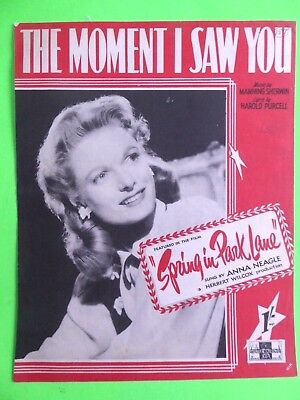 The Moment I saw You - sheet music - from Spring in Park Lane   - 1945