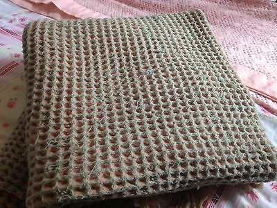 Vintage, Shabby Chic, Pure Wool Welsh Blanket, Honeycomb, Double Size