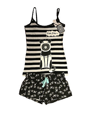 Primark Official Ladies Womens Cat I Wish I Was A Pyjamas Cami Set Vest Bnwt S